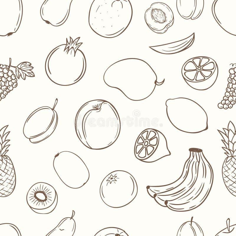 Fruits avec le modèle sans couture de nom image stock