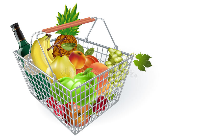 Fruits in basket. Metal fruit basket. Basket of fruit in the supermarket. Fruits in the supermarket. Buying fruit vector illustration