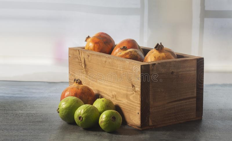 Fresh fruits in basket and out. royalty free stock photo