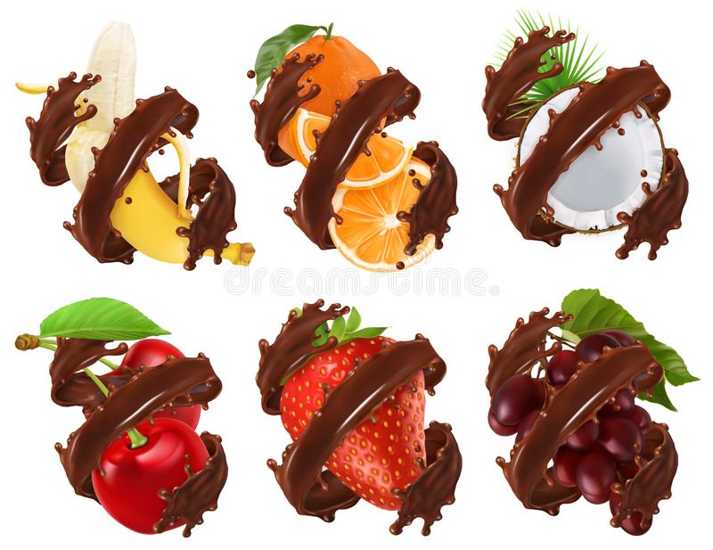 Fruits and berries in chocolate splash. Banana, orange, coconut, cherry, strawberry, grapes 3d vector stock illustration