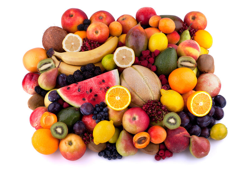 Fruits and berries. Collection of different fruits and berries on white background stock photo