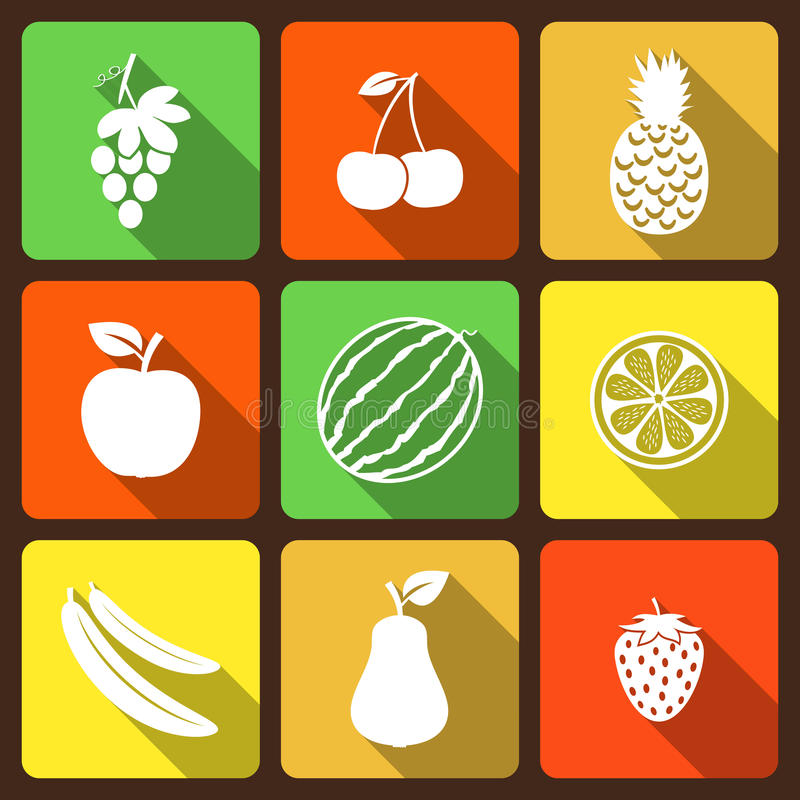 Fruits and berries flat icons. With long shadow. Vector illustration vector illustration