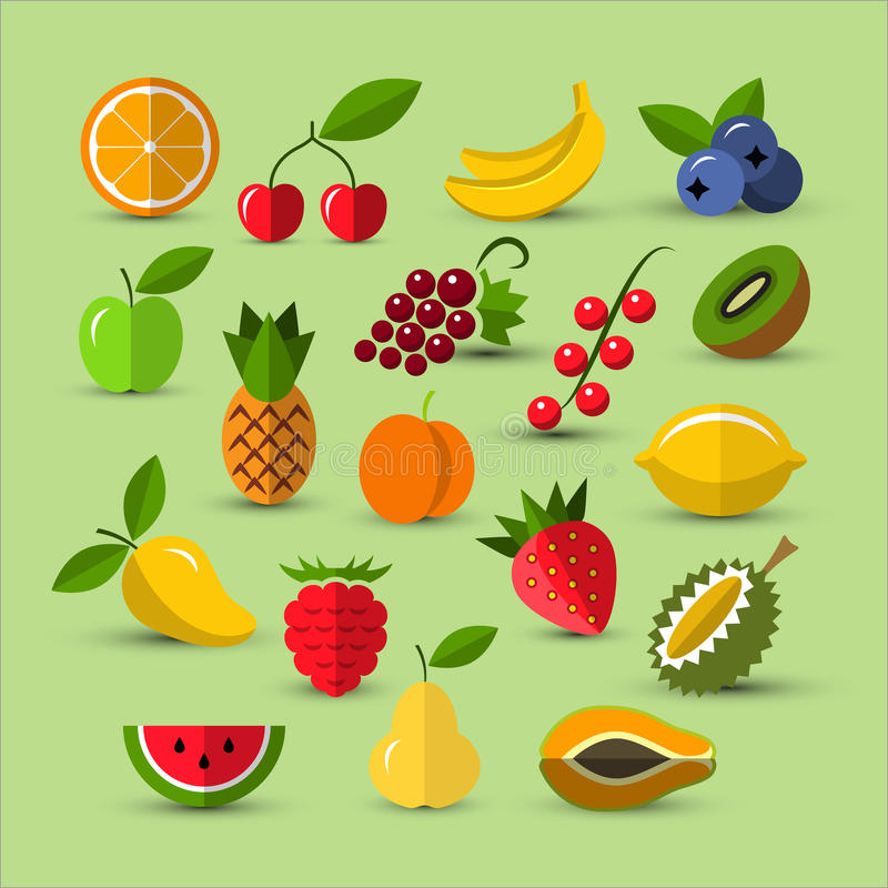 Fruits and berries icons. Flat icons collection. Set of different fruits and berries icons. Berry icon. Fruits icons. Flat style icons. Vector design elements stock illustration