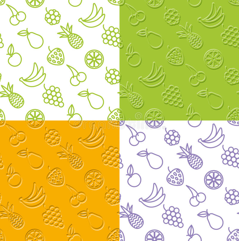 Fruits and berries seamless background stock photo