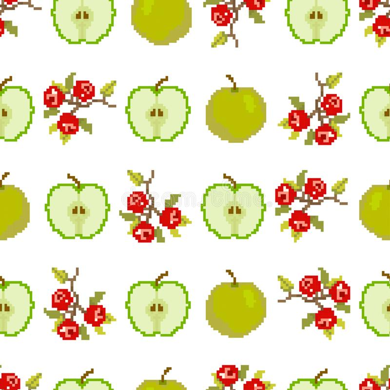Fruits and berries.Seamless pattern of apples and berries. Pixel. Embroidery. Vector stock photo