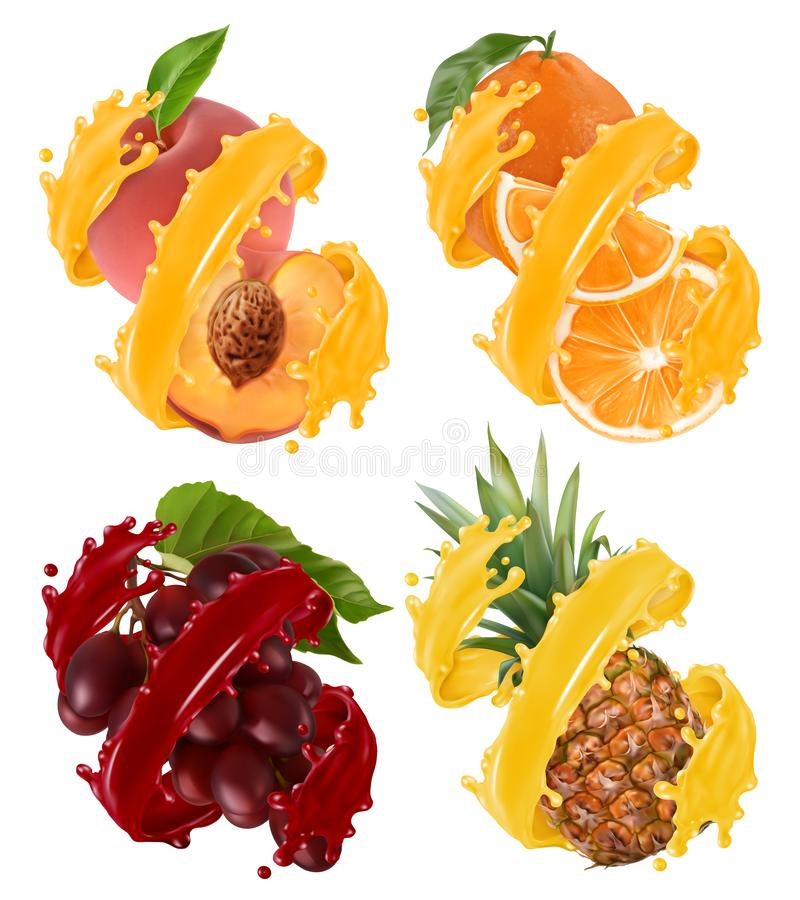 Fruits and berries in splash of juice. Orange, pineapple, grapes, peach. 3d vector. Fruits and berries in splash of juice. Orange, pineapple, grapes, peach. 3d vector illustration