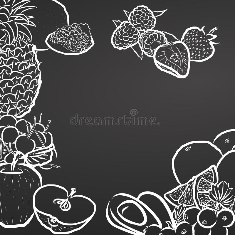 Fruits, Chalk Drawing on Blackboard vector illustration