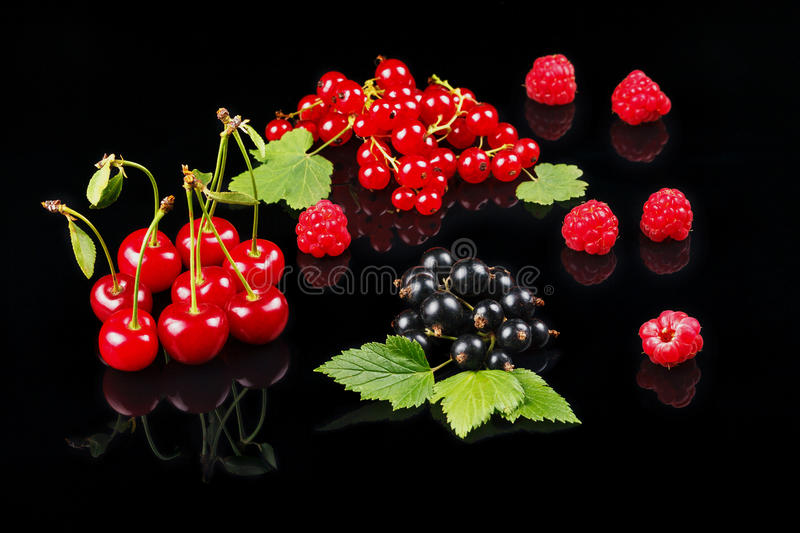 Fruits of cherry, raspberry, black currant and red currant on a dark background. royalty free stock images