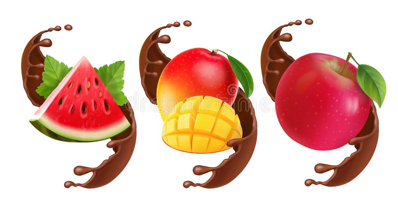 Fruits in chocolate splash. Realistic set with mango, apple. watermelon. Illustration stock illustration