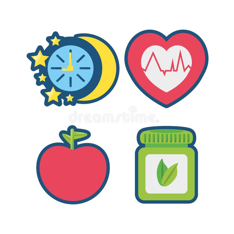 Fruits, chronometer, healthy pills and heartbeat icons vector illustration