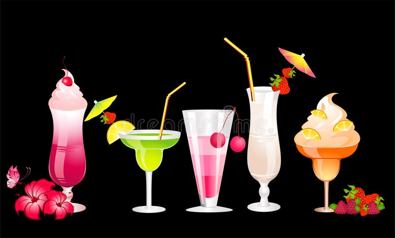 fruits cocktail with fruits vector illustration