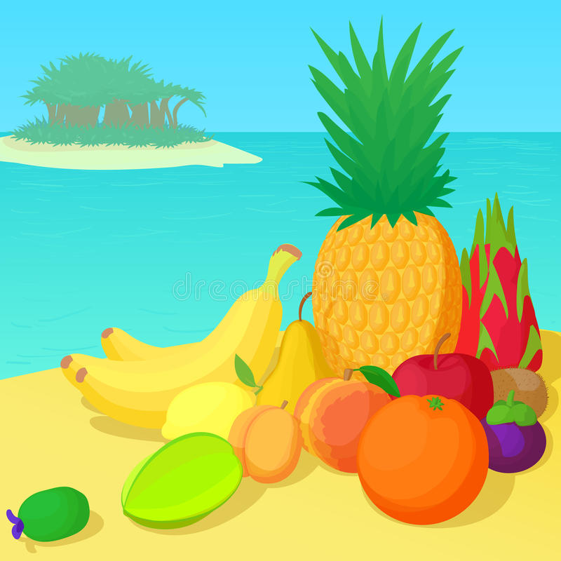 Fruits collection concept, cartoon style. Fruits collection concept set. Cartoon illustration of fruits collection vector concept for web vector illustration