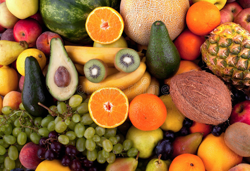 Fruits. Collection of different fruits stock images