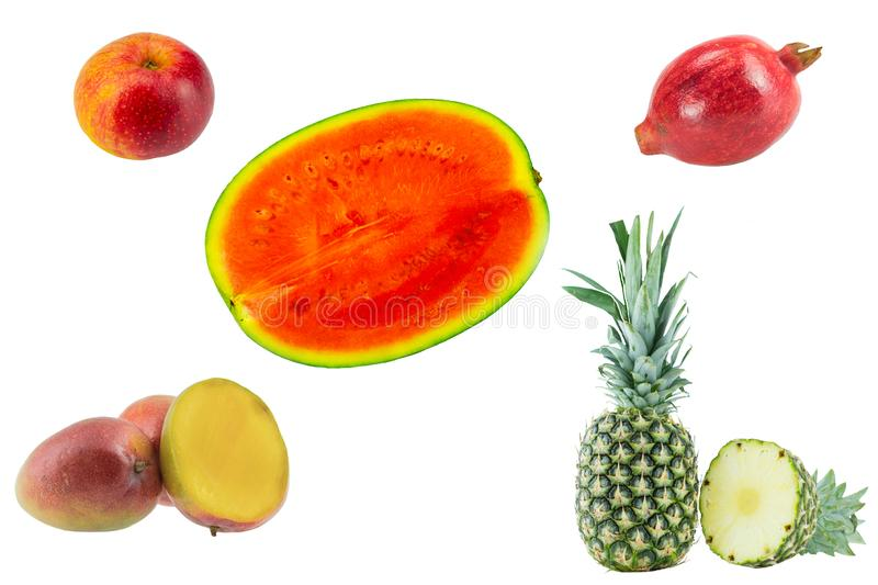 Fruits collection. Set of tropical fruits and one apple isolated stock image