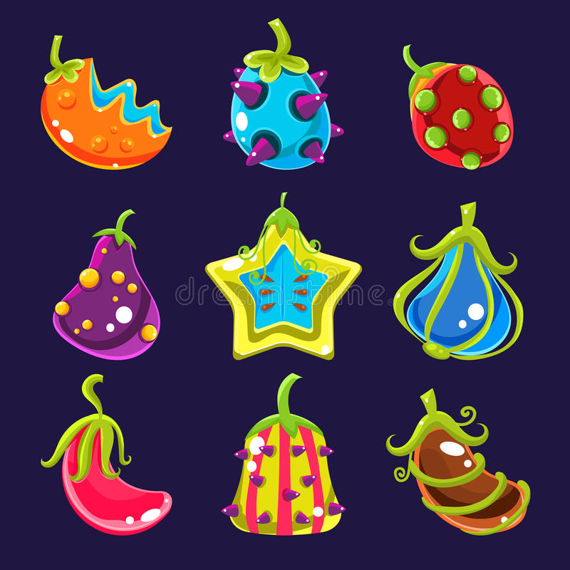 Fruits colorés figés d'imagination, illustration de vecteur illustration libre de droits