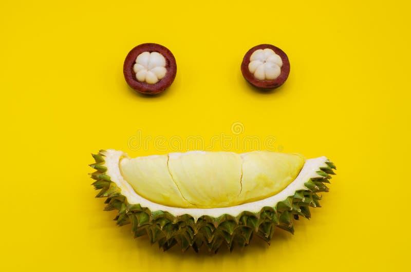 Fruits coupés frais de durian et de mangoustan réglés en tant que visage heureux d'expression image libre de droits