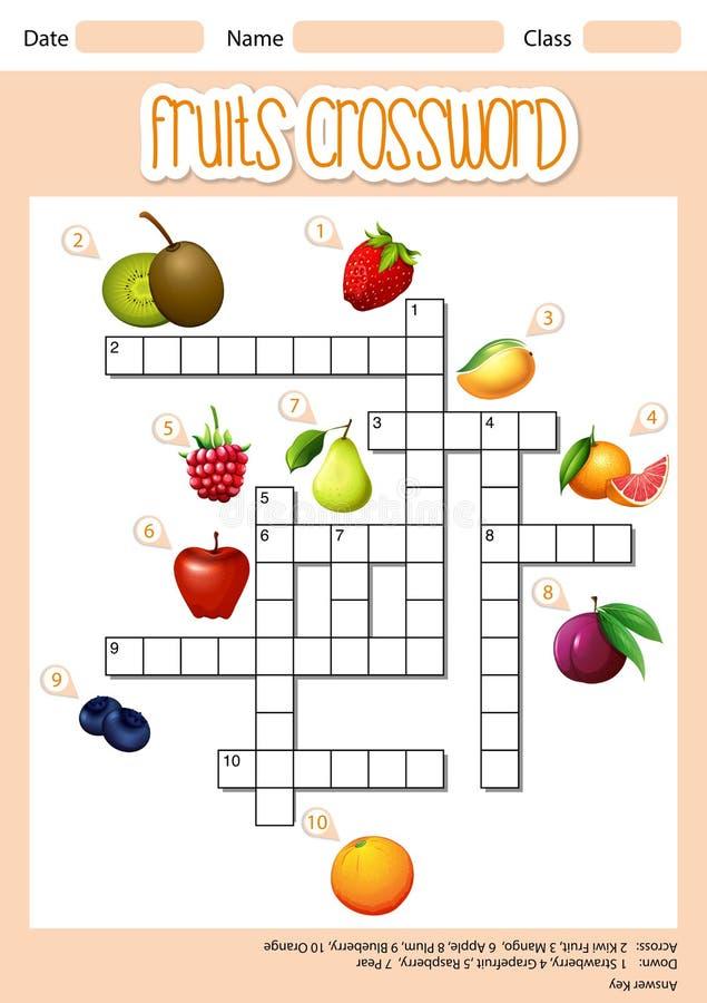 Fruits cross word concept. Illustration royalty free illustration