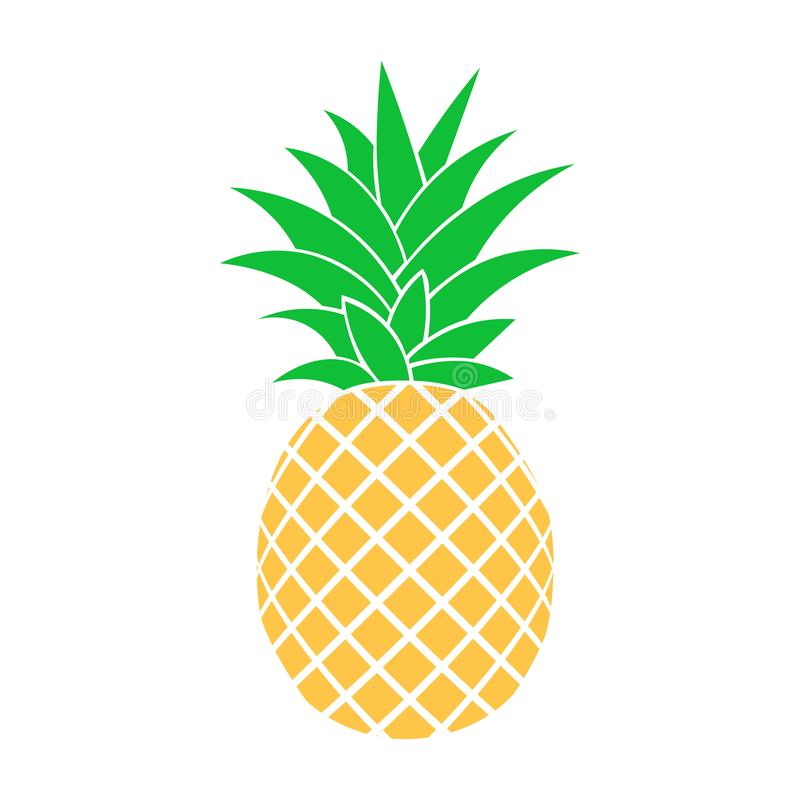 Fruits d'été pour le mode de vie sain Fruit d'ananas Dirigez l'icône plate de bande dessinée d'illustration d'isolement sur le bl illustration libre de droits
