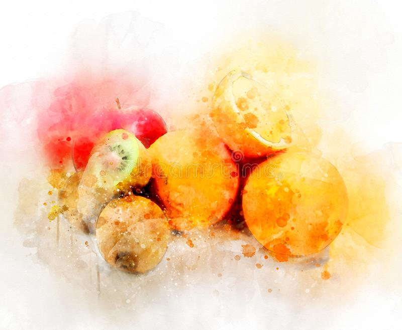 Fruits d'illustration d'aquarelle photographie stock