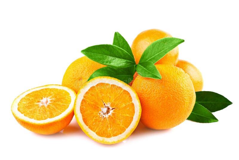 Fruits d'oranges d'isolement sur le blanc image libre de droits