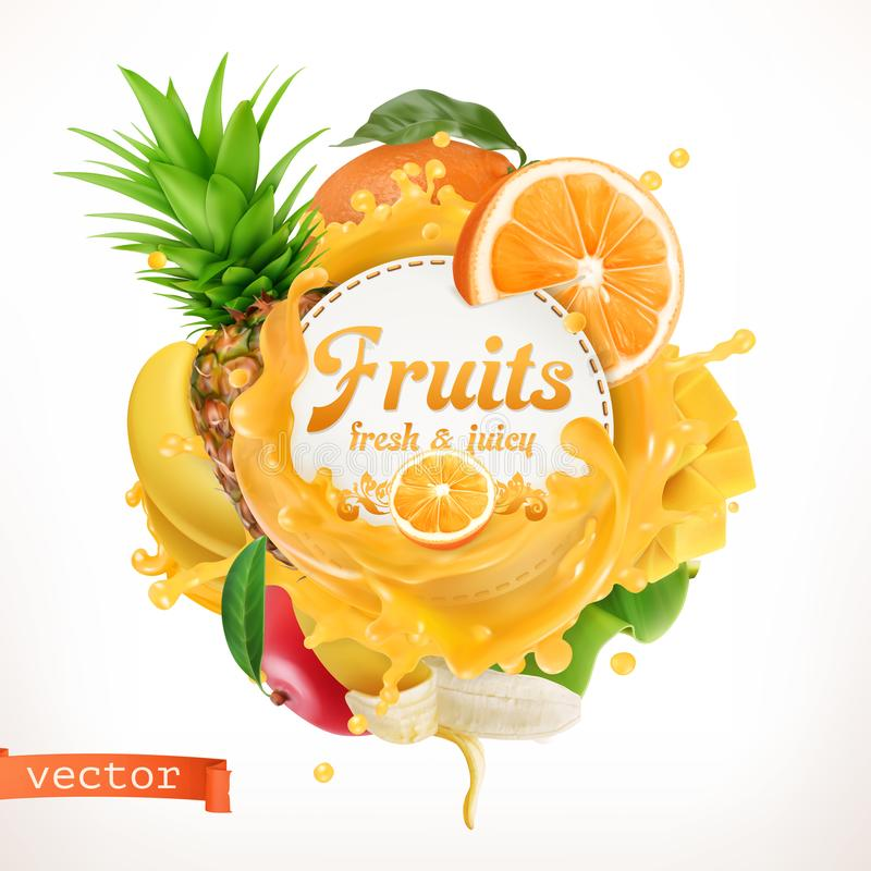 Fruits, 3d vector label vector illustration