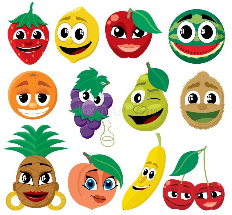 Fruits de dessin animé illustration stock
