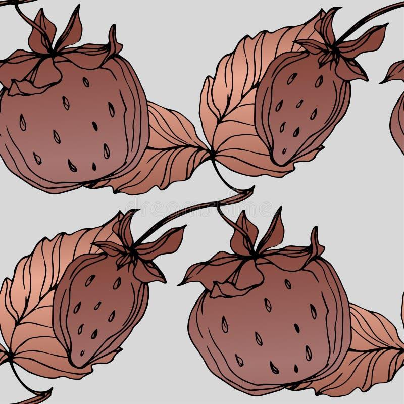 Fruits de fraise de vecteur Art gravé de cuivre d'encre Modèle sans couture de fond illustration de vecteur