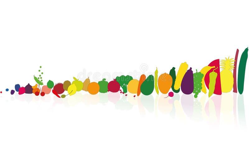 Fruits de légumes dans le fichier unique illustration de vecteur