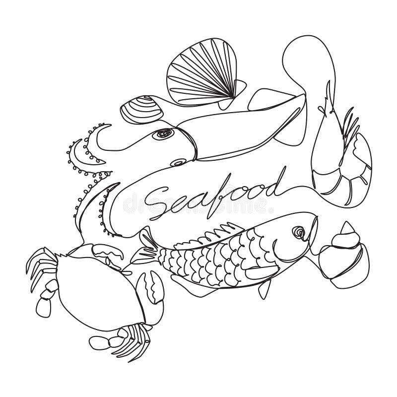 Fruits de mer graphiques, vecteur illustration stock