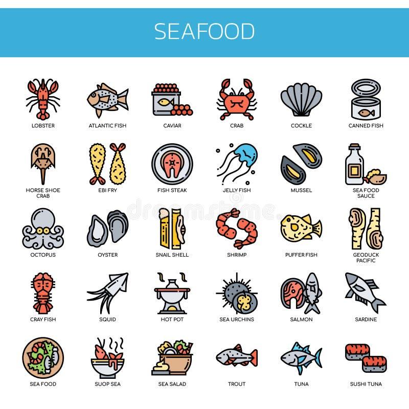 Fruits de mer, icônes parfaites de pixel illustration stock