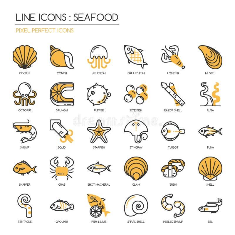 Fruits de mer, icône parfaite de pixel illustration libre de droits