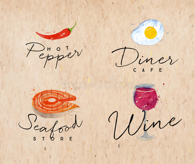Fruits de mer papier d'emballage de label d'aquarelle illustration stock