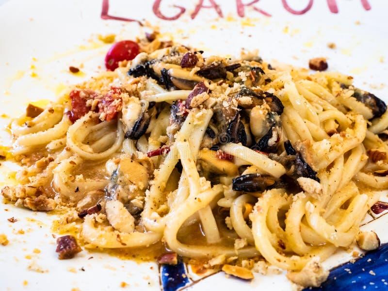 Fruits de mer de plat de spaghetti photo libre de droits