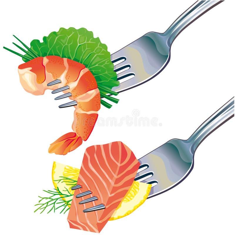 Fruits de mer sur la fourchette illustration stock