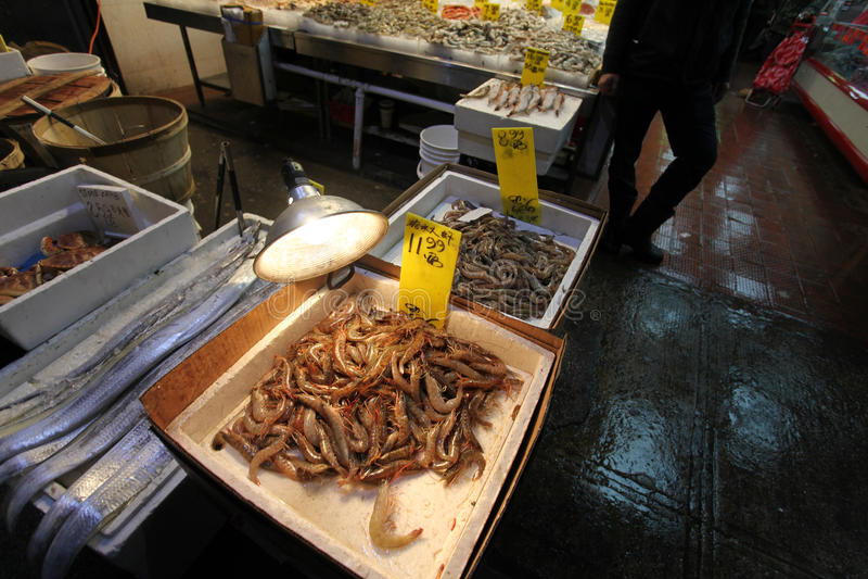 Fruits de mer sur le marché de ville de la Chine, NYC, Etats-Unis photographie stock libre de droits