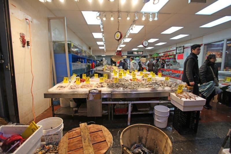 Fruits de mer sur le marché de ville de la Chine, NYC, Etats-Unis photographie stock
