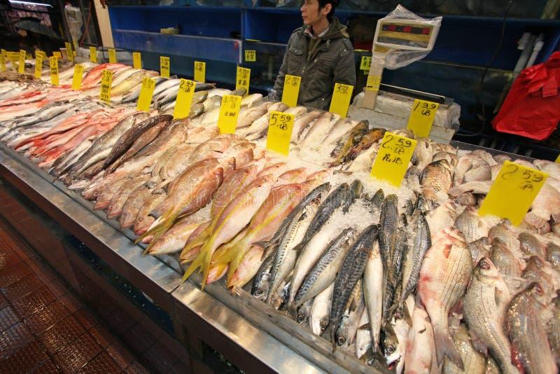 Fruits de mer sur le marché de ville de la Chine, NYC, Etats-Unis image stock