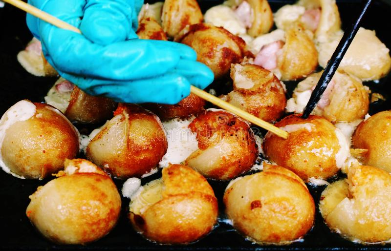 Fruits de mer Takoyaki, nourriture japonaise images libres de droits