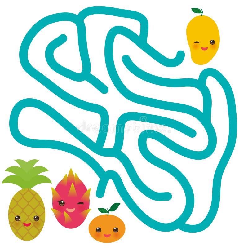 Fruits drôles de kawaii de fruit du dragon de mandarine d'ananas de mangue, couleurs en pastel illustration stock