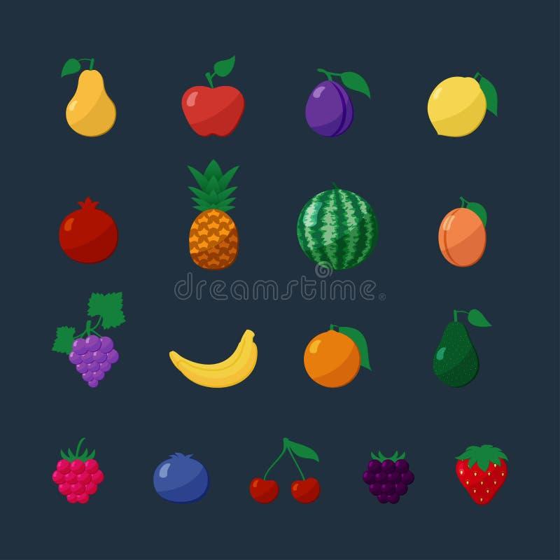 Fruits et baies d'icônes de vecteur dans l'ensemble plat de style illustration libre de droits