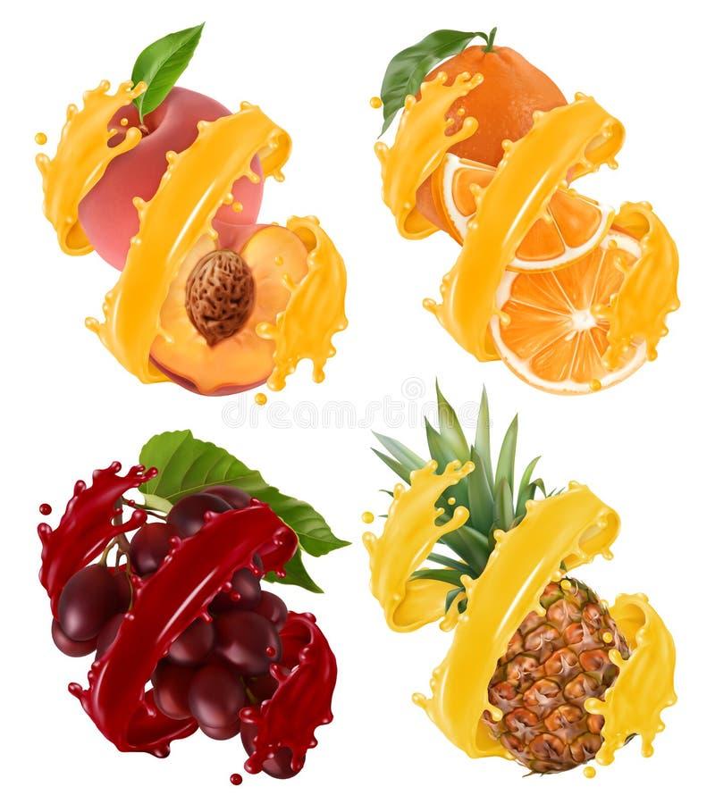 Fruits et baies dans l'éclaboussure du jus Orange, ananas, raisins, pêche vecteur 3d illustration de vecteur