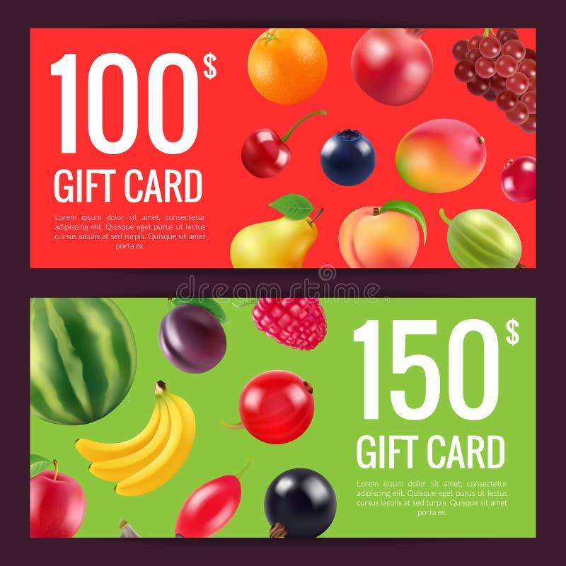 Fruits et baies remise ou cadeau de vecteur illustration stock