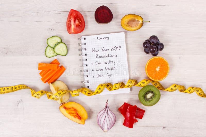 Fruits et légumes et centimètre, résolutions de nouvelle année des modes de vie sains et régime photos stock