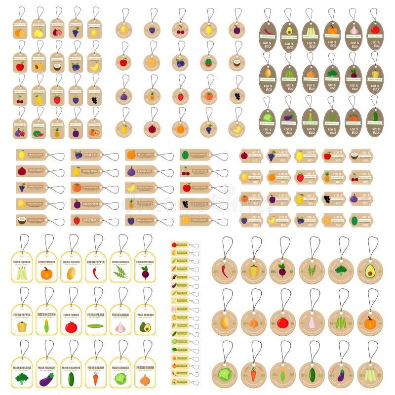 Fruits et légumes d'étiquette de coup illustration stock