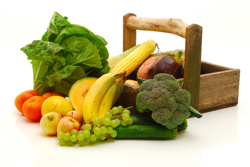 Fruits et légumes d'isolement sur le blanc image stock