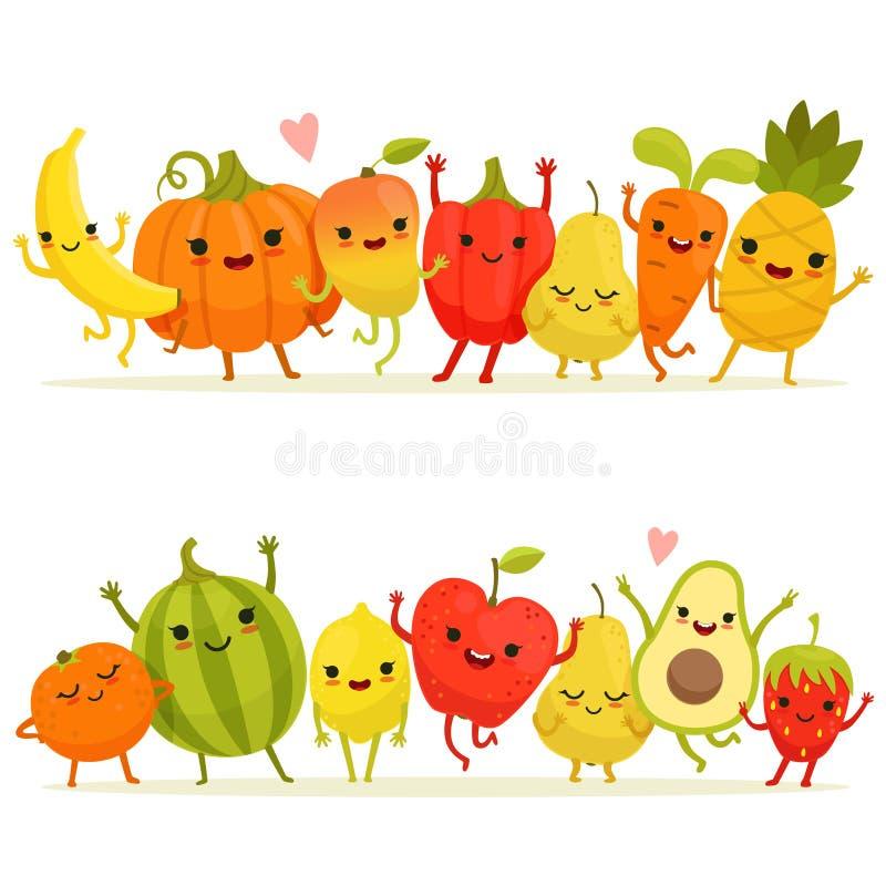 Fruits et légumes de bande dessinée dans le groupe Mascottes heureuses de vecteur avec les visages de sourire illustration stock