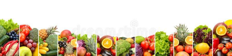 Fruits et légumes de panorama d'isolement sur le fond blanc photographie stock