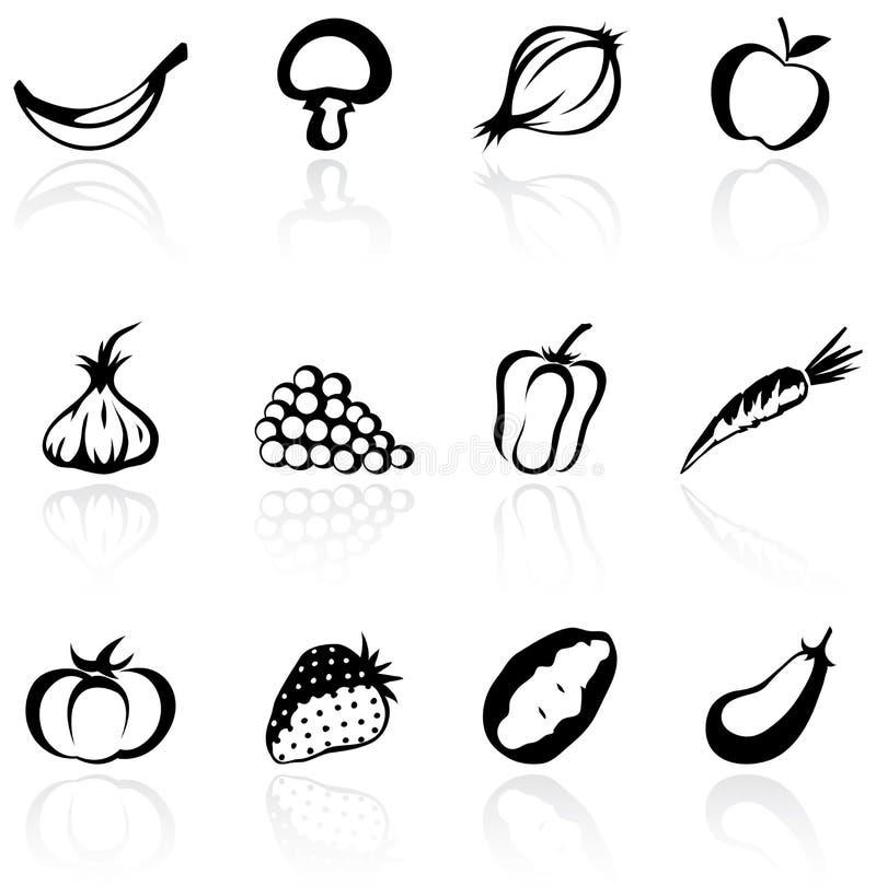 Fruits et légumes de silhouette illustration libre de droits