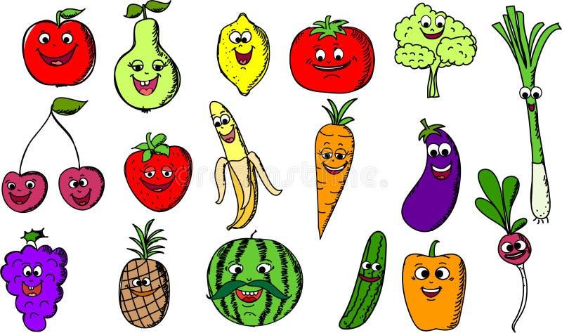 Fruits et l gumes dr les de dessin anim vecteur - Dessiner un fruit ...
