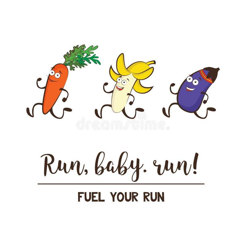 Fruits et légumes drôles Consommation saine et forme physique Ensemble mignon de vecteur de personnage de dessin animé de nourrit illustration stock
